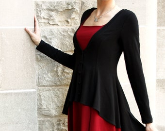 Romantic Flared Black Cardigan sweater: black jacket shown