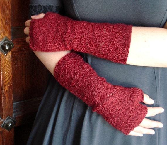 Burnt rose Neo-Victorian fingerless gloves
