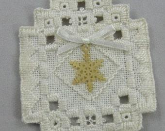 Snowflake Hardanger Christmas Ornament 101