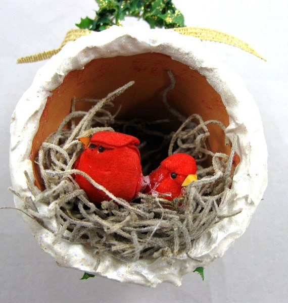 Christmas Ornament - Cardinals Nesting in a Flower Pot  202