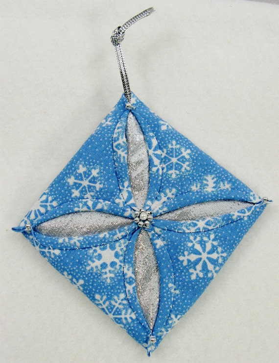 Blue, White and Silver Cathedral Window Quilted Christmas Ornament  524