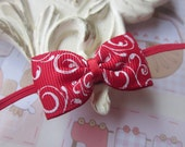 Baby Headband with Red and White Hairbow