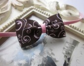 Baby Headband with Brown and Light Pink Swirl Design Hairbow