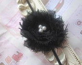 Baby Headband with Black Shabby Chic Flower