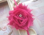 Baby Headband with Hot Pink Shabby Chic Flower