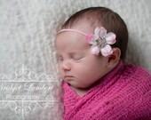 Baby Pink Flower Headband with Sparkling Rhinestone Centre