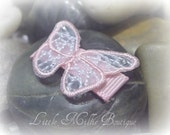 Infant Toddler hair clip with Pink and White Organza Embroidered Butterfly and Rhinestones