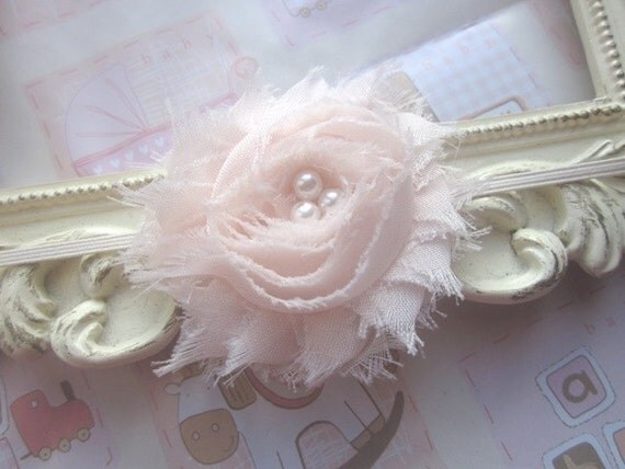 Baby Headband with Ivory Shabby Chiffon Flower