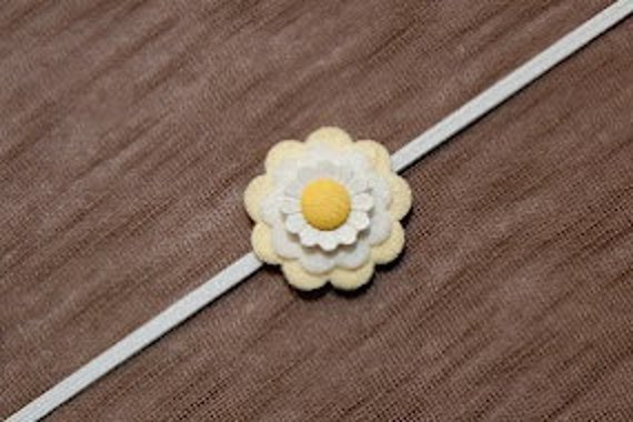 Baby Headband with Yellow and White Felt and Fabric Flower