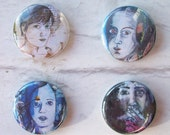 FREE SHIPPING-artistic faces 1in buttons\/badges