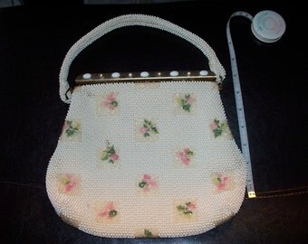 Vintage White 1960's Beaded Purse Delicate Formal Handbag