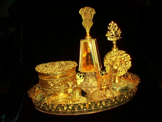 Vintage Filiree Ornate  Florals Flowers Cherubs Gold Tone Two Perfume Bottles with Stoppers Tray Mirror Power Jewerly box