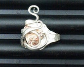 Silver Fork Ring Banded Agate size 6