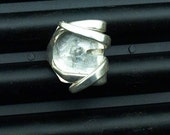 Silver Fork Ring Clear Glass size 10