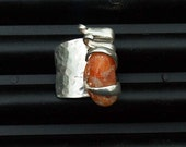 Silver Fork Ring Orange Peach Stone size 9