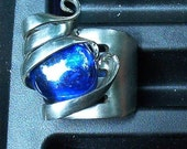 Silver Fork Ring Blue size 10
