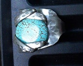 Silver Fork Ring Turquoise size 7 1/2