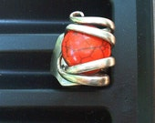Silver Fork Ring Red Howlite size 9 1/4
