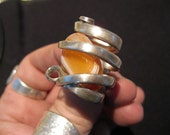 Apricot banded Agate Silver Fork Ring size 6 1/2 to 11