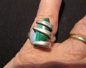 Malachite Sterling Silver fork Ring size 10