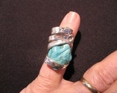 Turquoise-color Silver Ring size 7 to 11