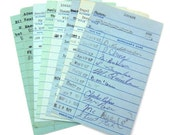 Vintage Library Check Out Cards in Blue - Lot of 15