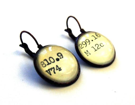 Dewey Decimal Vintage Card Catalog Copper Lever Back Earrings