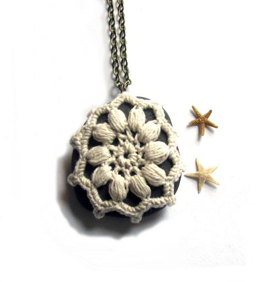 SUMMER SALE Crochet Beach Rock Pebble Pendant in Cream - Luxe Beach Stone Necklace