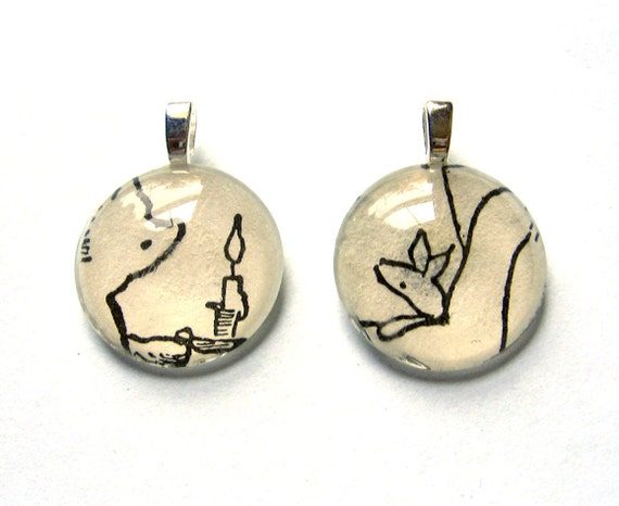 Winnie the Pooh and Piglet Vintage Children's Book Mini Pendant Pair Resting