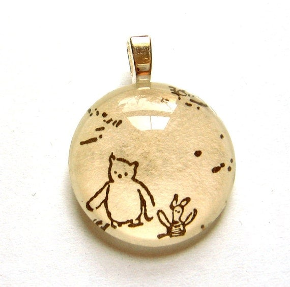 Winnie the Pooh and Piglet Vintage Children's Book Mini Pendant Celebrate