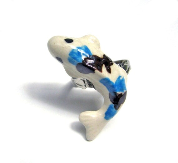 Ceramic Koi Fish Ring Blue Black and White Adjustable Silver Plated