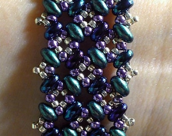 Patchwork Bracelet Pattern Tutorial for twin or duo seed beads - Digital Download