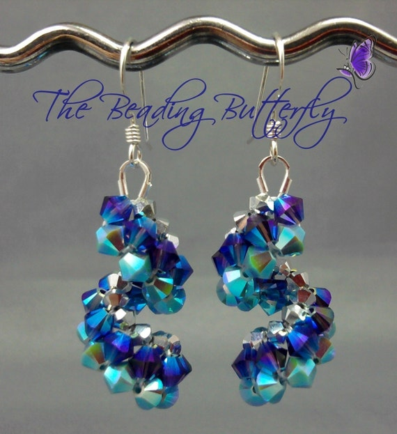 Vertigo Crystal Spiral Earrings Pattern - Digital Download