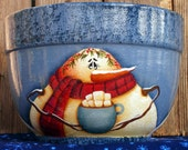 Snowman Hand Painted Glass Bowl