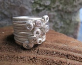 Diamonds /  Pure Silver Solitaire Stacking Rings