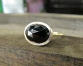 Rose Cut Black Spinel 14K Yellow Gold Ring