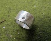 Wide Pure SIlver Diamond Ring