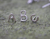 Custom listing for Jessica / Alphabet letter stud earrings in 14k W gold