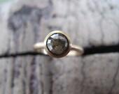 Custom for Matt / Rose Cut Moss Green Diamond Ring in 14k W gold