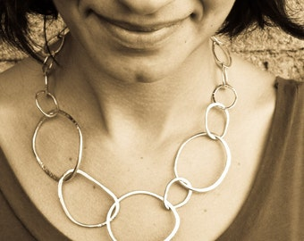 Hammered Sterling Silver Chain Necklace