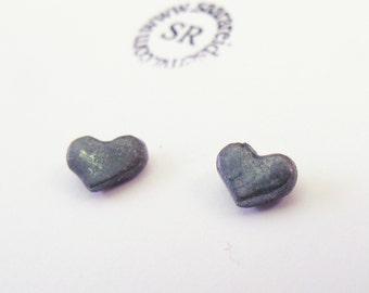 Heart Stud Earrings in oxidized sterling silver