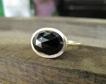 Rose Cut Black Spinel 14K Y Gold Ring