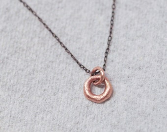 14k rose gold circle pendant / necklace