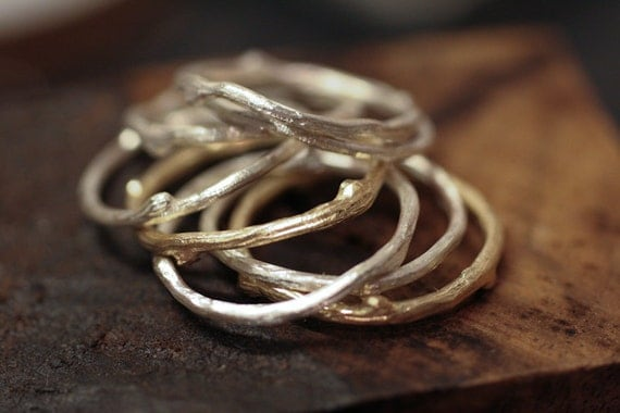 Twig Ring Solid 14k Gold single