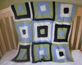 Baby Boy - Child 53x35 Hand Crocheted Blanket\/Throw