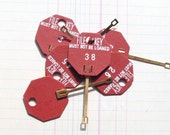 Vintage Red Paper & Brass Key Tags for Scrapbooking, Mixed Media and More