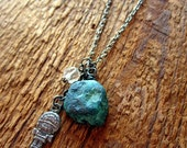 Modern Tribal Talisman - Upcycled Vintage Charm Necklace - Chrysocolla, Faceted Crystal,  and Silver Mexican Charm (SP-07)