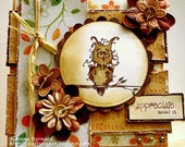 Quirky Owl Any Occasion Birthday Blank Luxury OOAk Handmade Card