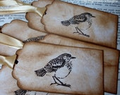 Vintage Bird Handmade Gift Tags- set of 6