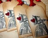 Queen Of Hearts Tag Set- 6 Vintage Alice in Wonderland Tags/Favours
